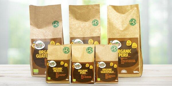 Zrnkové bio kávy z Mexika, Guatemaly a Peru
