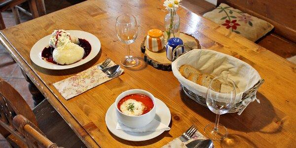 Horské menu pro dva: polévka a knedlíky dle chuti