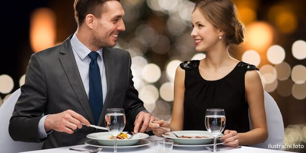 4chodové menu pro dva: ryba či steak a láhev vína