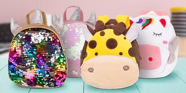 Dětské batohy s flitry i plyšové ve tvaru zvířat