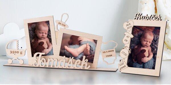 Dřevěné fotorámečky se jménem novorozence