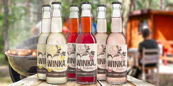 Balení 3 svěžích nápojů Winka z hroznového vína