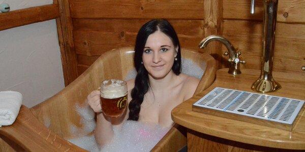 Pivní nebo vinná koupel pro 2 vč. nápojů