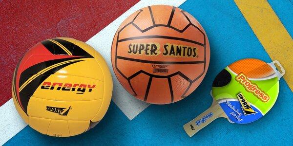 Pálky na ping-pong, badmintonový set i míče