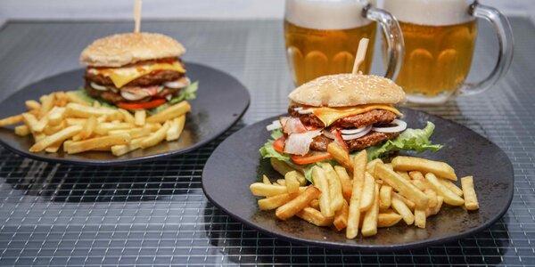Burger Gold, hranolky a nápoj dle výběru