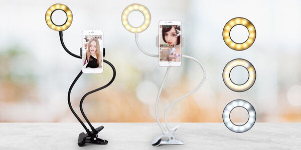 Selfie držák na telefon s profi LED osvětlením