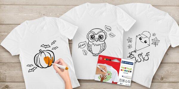 Předtištěné tričko s podzimními obrázky a fixy na textil