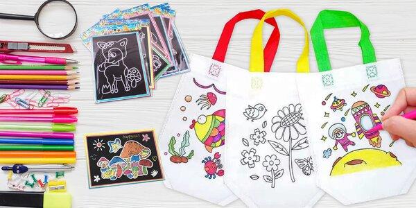 5 tašek k vymalování a stírací obrázky pro děti