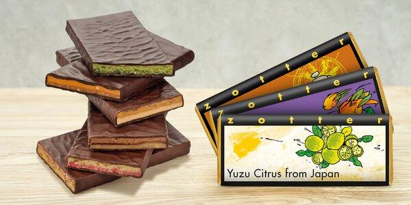 Bio čokolády s malinami, karamelem i slivovicí