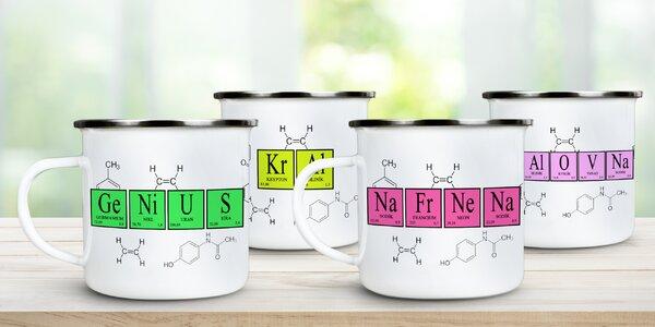 Plecháčky s vtipnými nápisy z chemických značek
