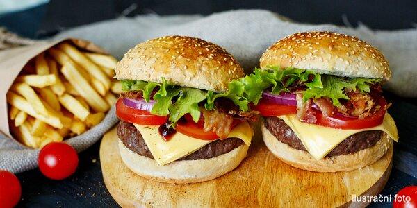 Hovězí burger a hranolky pro 1 nebo 2 osoby