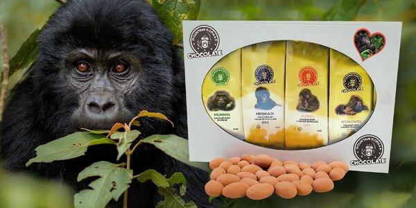 Balíčky kávy a kakaových bobů na podporu goril