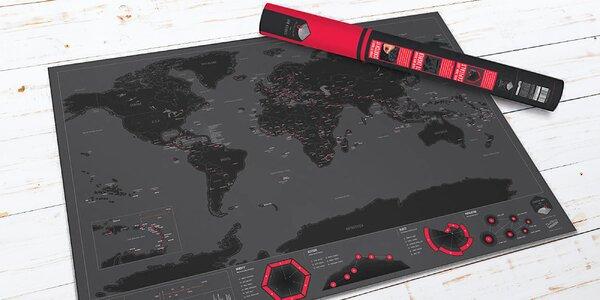 Stírací mapa světa s hlavními městy v dárkovém tubusu