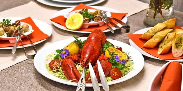 5chodové menu s krevetami a humrem pro dva