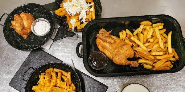 Grilované kuře s hranolky a omáčkou