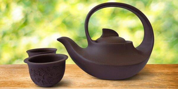 Pro čajomily: Čajový set hliněné konvičky a šálků