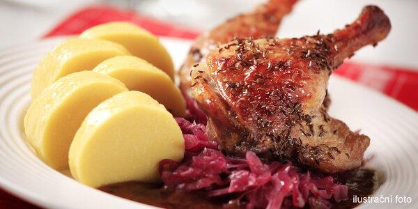Pečené kachní stehno, knedlíky, zelí pro 1 i 2