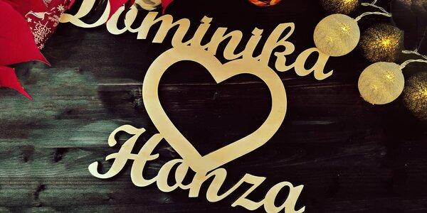 Pro zamilované: dřevěné srdce se dvěma jmény