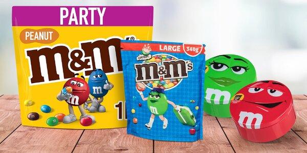 Čokoládové i arašídové M&M's v dóze či pytlíku