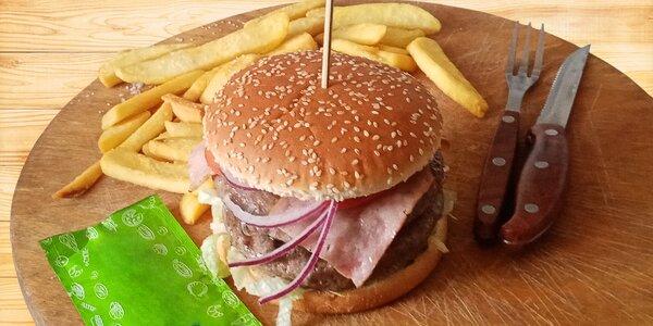 Burgery s pitím zdarma nebo s hranolky a zmrzkou