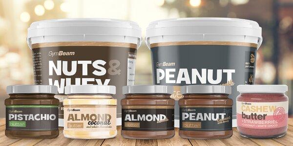 Balíčky ořechových másel: kešu, arašídy i mandle