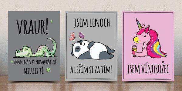 Vtipné designové cedulky s roztomilým obrázkem