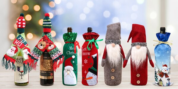 Vánoční obaly na lahve: skřítci, šály a čepice