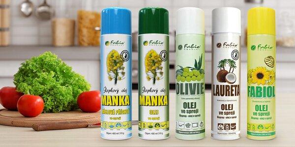Kokosový, olivový i řepkový olej ve spreji