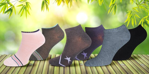 12 párů kotníkových bambusových ponožek