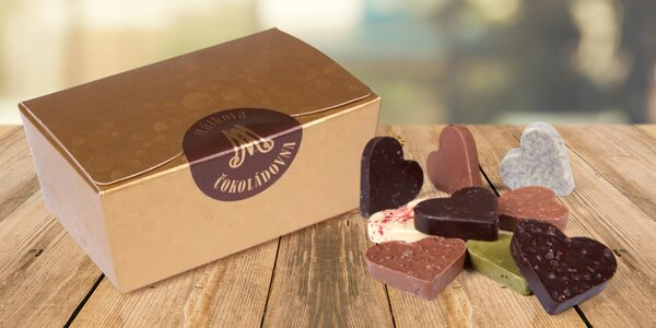 Ručně vyráběná čokoládová srdíčka 9 chutí