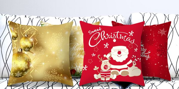 Vánoční potahy na polštáře: stromek, sob i Santa
