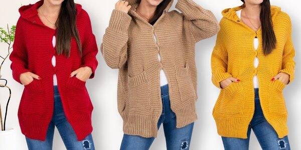 Dámský volný svetr s kapucí a knoflíky
