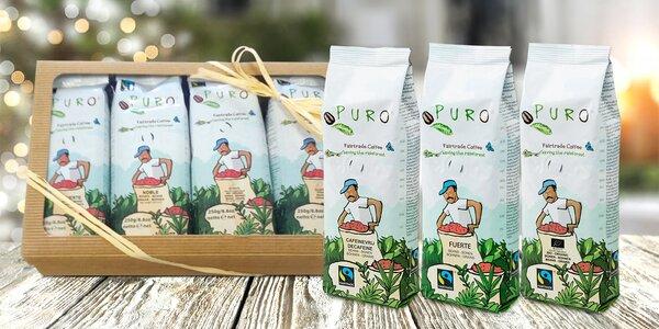 Balení fair trade kávy: zrnková i bez kofeinu