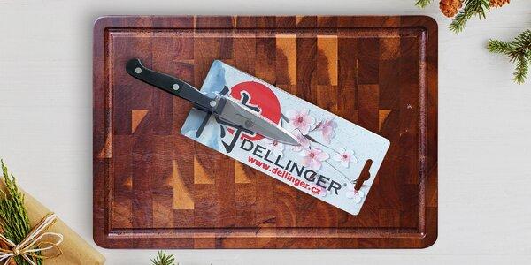 Akátové krájecí prkénko a kvalitní nůž Dellinger
