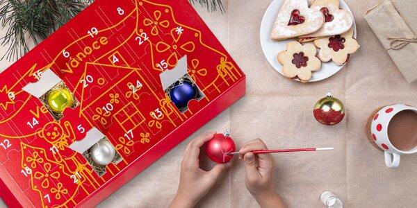 Adventní kalendář se skleněnými ozdobami k dotvoření