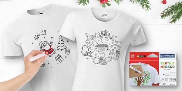 Trička i s fixky k vybarvení: 3 vánoční motivy