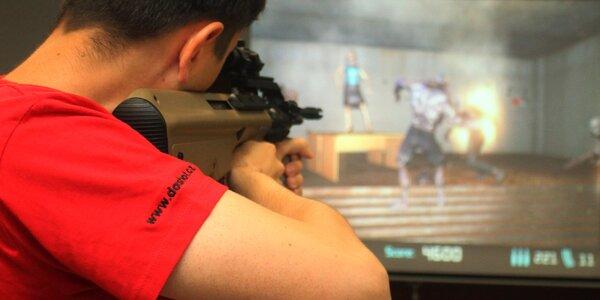 1–2 hodiny na laserové střelnici: 16 zbraní, 9 her