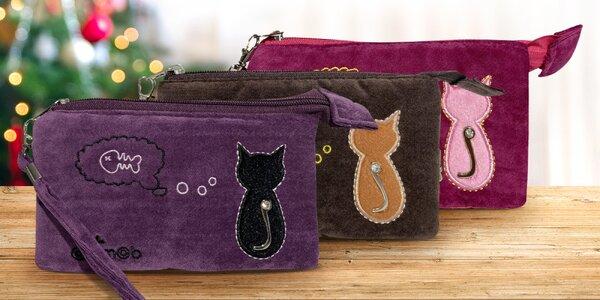 Sametová taštička s motivem kočky: 4 barvy