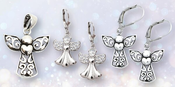Andělské náušnice a přívěsky z rhodiovaného stříbra