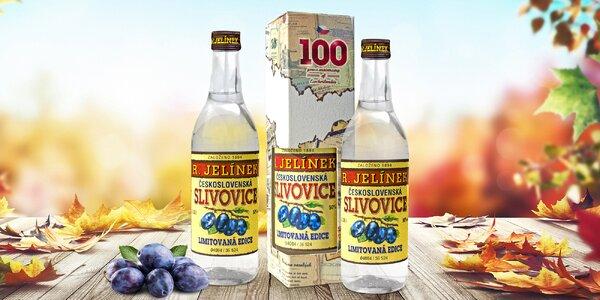 3 lahve Československé slivovice Rudolf Jelínek