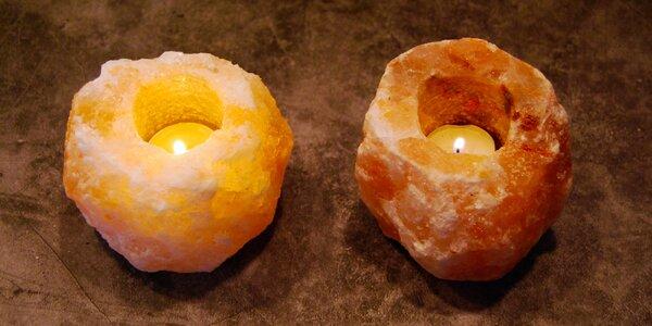 Solná lampa z krystalů soli na čajovou svíčku