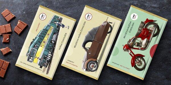 Kilová belgická čokoláda s retro motivy: Velorex i JAWA