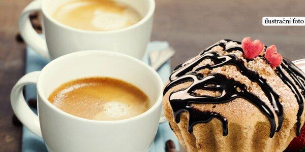 Espresso a zákusky pro dva v nové cukrárně