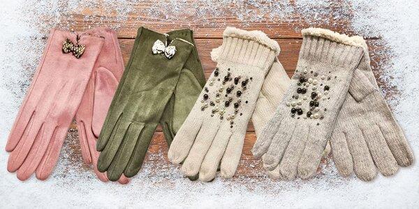 Dámské rukavice s perličkami nebo mašličkou