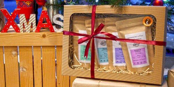 Balíček 3 a 4 káv v dárkové krabičce: zrnka i mleté