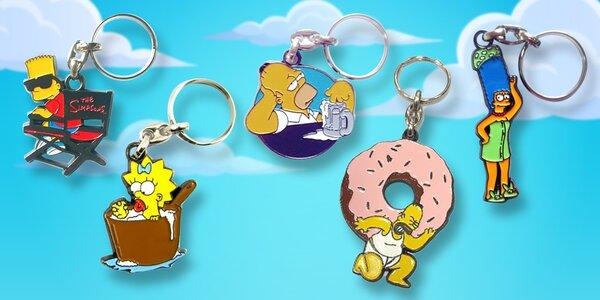 Kovové klíčenky se žlutou rodinkou Simpsonových