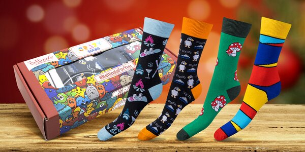 4 páry bláznivých ponožek Bellinda v dárkové krabičce