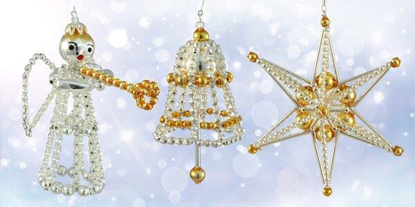 Vánoční perlové ozdoby české ruční rodinné výroby