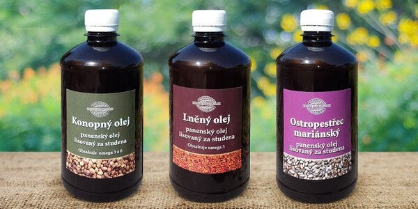 Ostropestřecový, lněný nebo konopný panenský olej