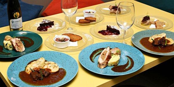 5chodové degustační menu i s lahví vína pro 2 osoby